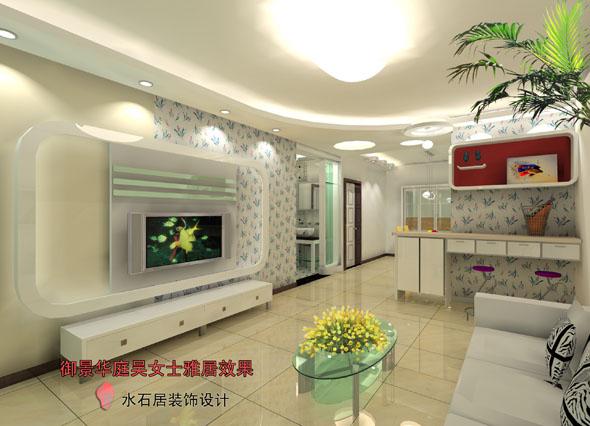 設計時家具和墻面造型也以圓角設計,在墻角設計了一個造型吧臺,兼顧了