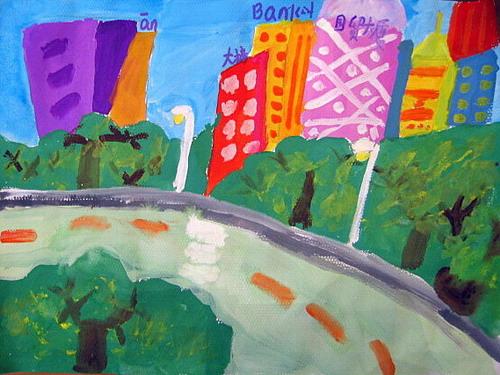 到处都洋溢着城市的进步与繁荣,我们要用画笔画出可爱的家