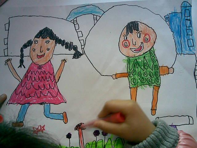儿童画秋天雨后景色