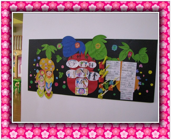幼儿园大班主题墙《花纹大世界》图片