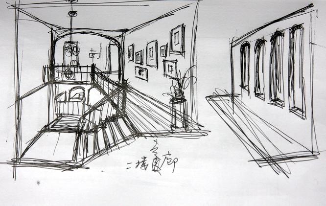 家庭楼梯手绘图
