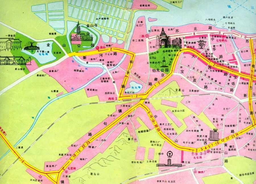 独家首发镇江手绘旅游地图