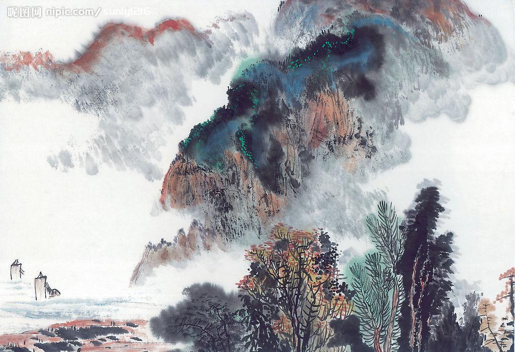 华山风景水墨画图片