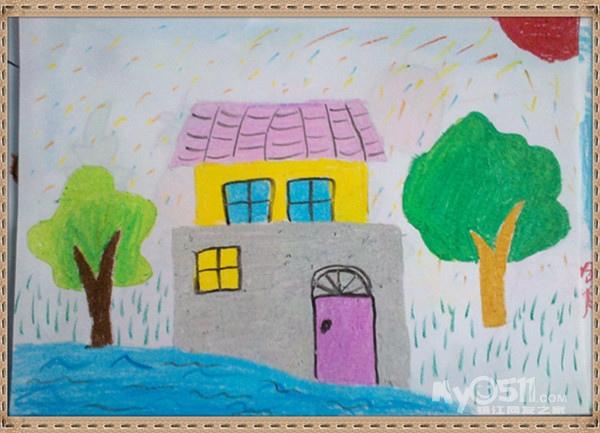 作画步骤:1,画一个大的方形作为房子的第一层