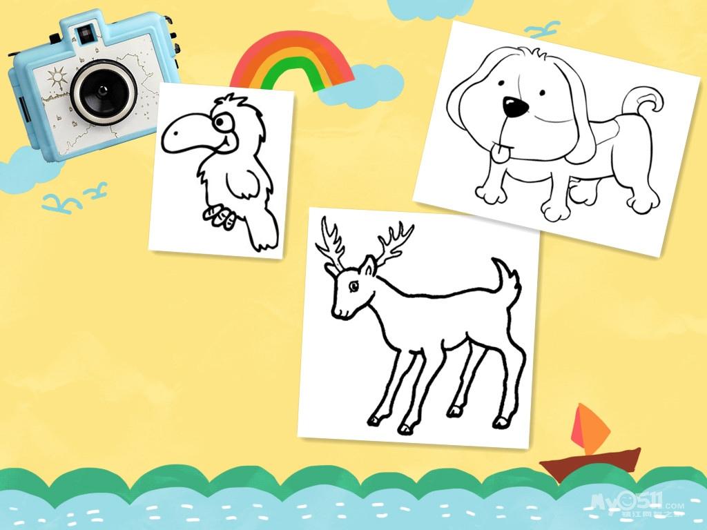 儿童放风筝简笔画 儿童油画棒教程