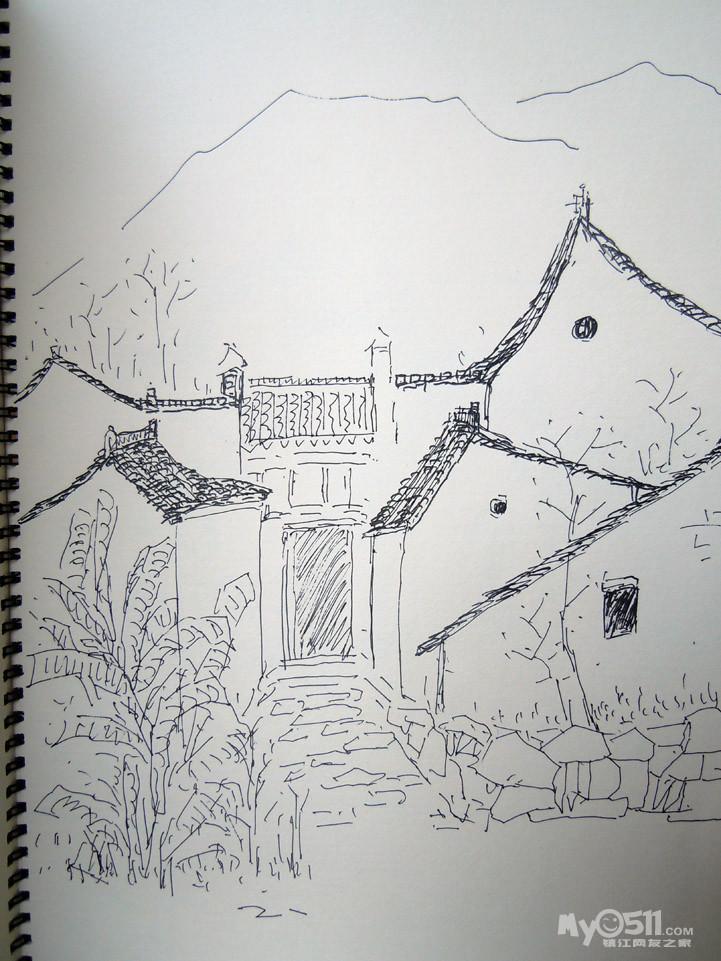 手绘风景图片古镇