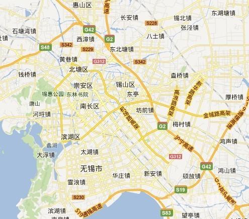速内环、机场路高架等高架,黄色标出,橘黄色是高速公路;-镇江全