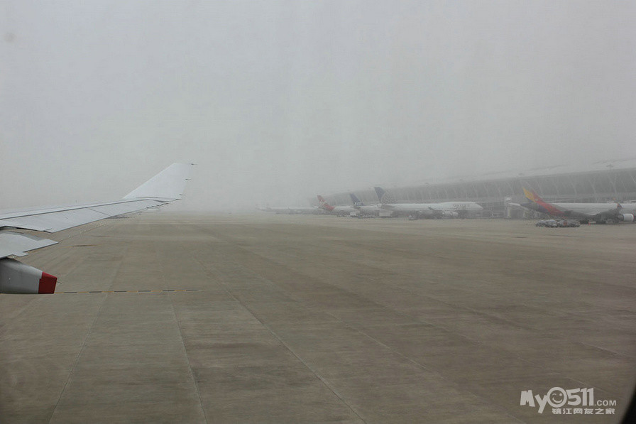 浦东机场大雾 飞机延误1小时 开始为转机担心了