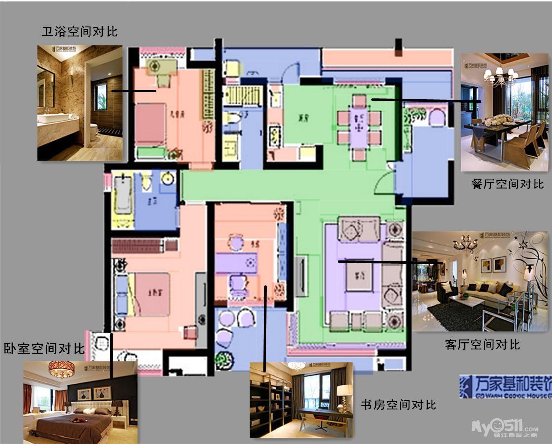 """本案客厅沙发布局设计没有采用""""迎客局""""(沙发朝门),因为空间的视觉感"""