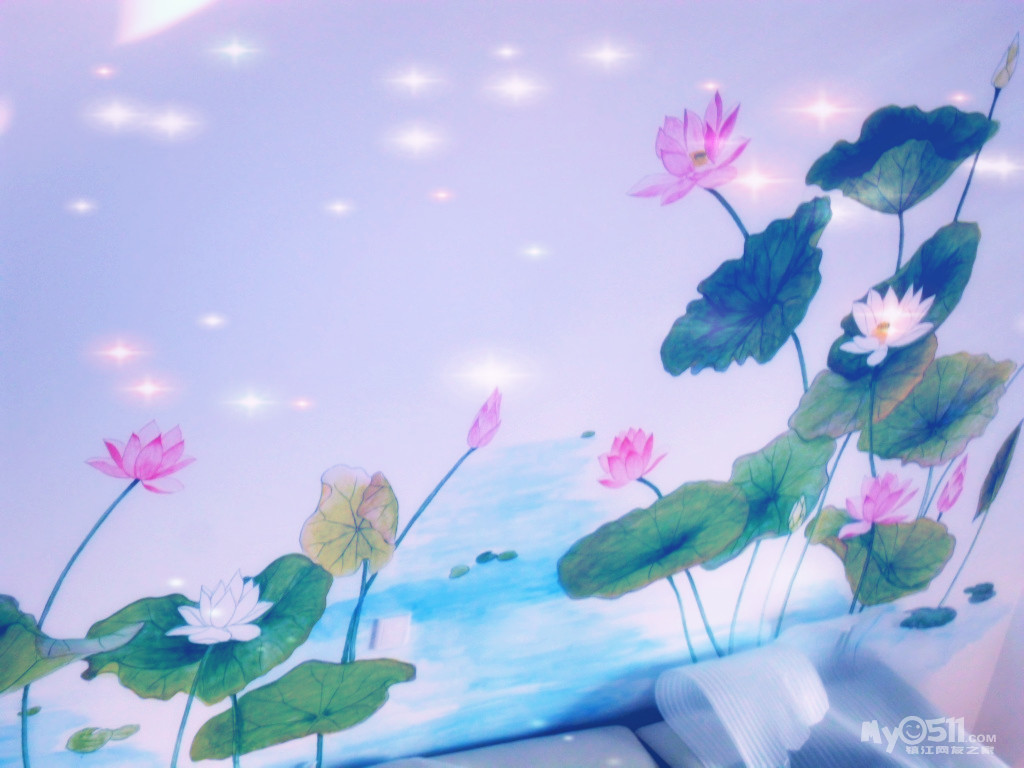 生机勃勃的蝴蝶兰墙体彩绘,手绘墙,电视背景墙等图片欣赏