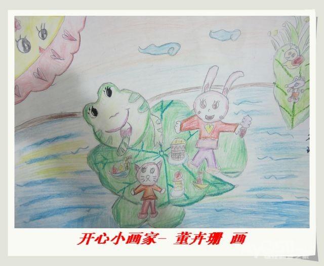 荷叶彩铅手绘图