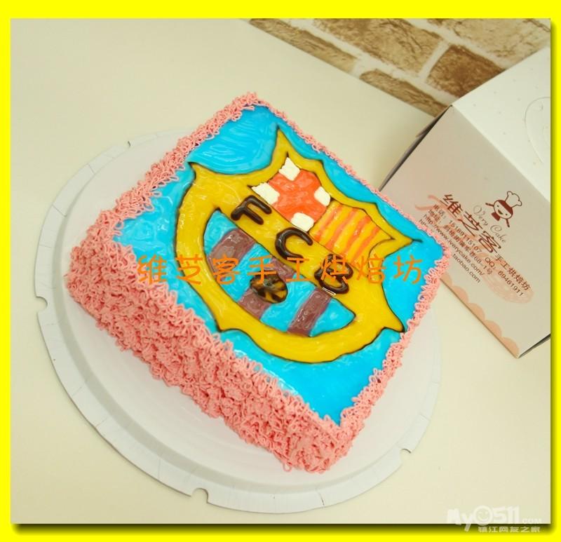 手绘足球标志蛋糕