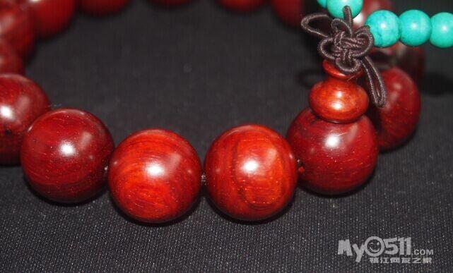 印度小叶紫檀1.5 同料顺纹手串 高油密老料 满瘤花-小叶紫檀手串 无事牌