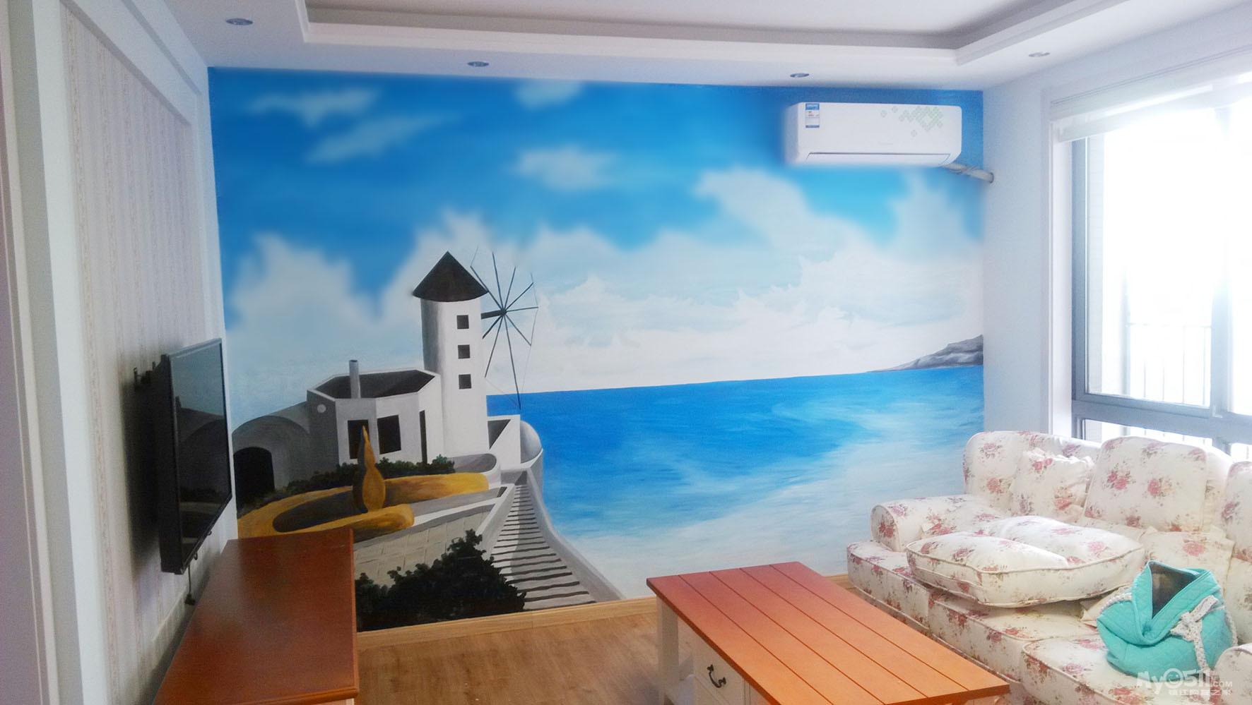 地中海风格墙体彩绘图片
