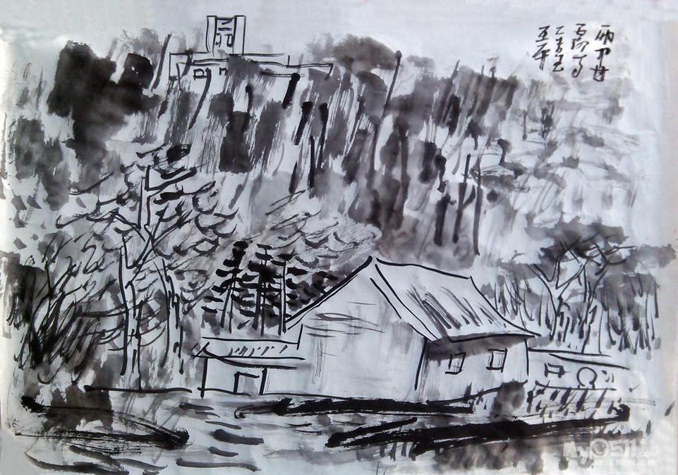 《雨中甘露寺》——山河(王平)国画写生作品欣赏