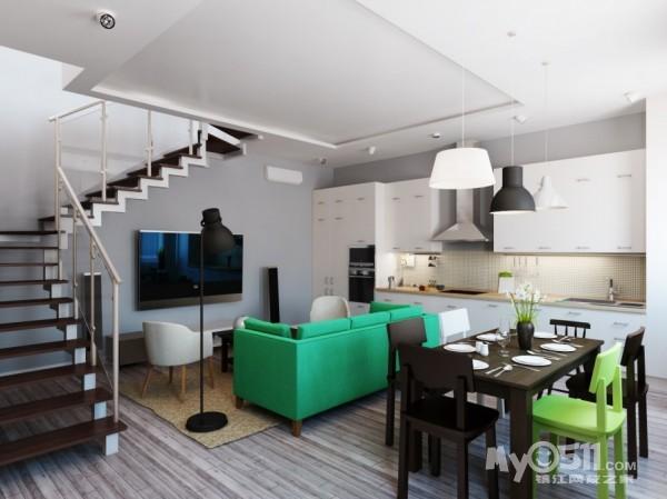 绿色调装修 森林风复式公寓设计