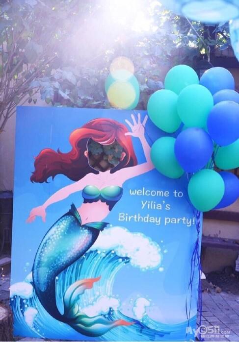 美人鱼主题生日趴,不仅有气球还有手工制作78