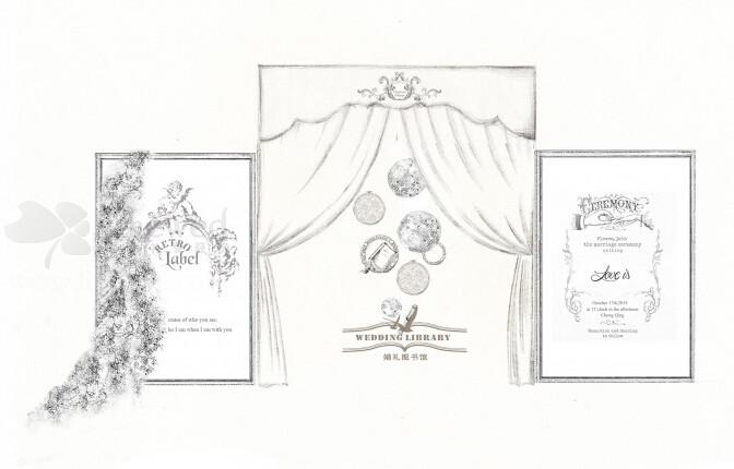 走进欧式婚礼教堂简笔画
