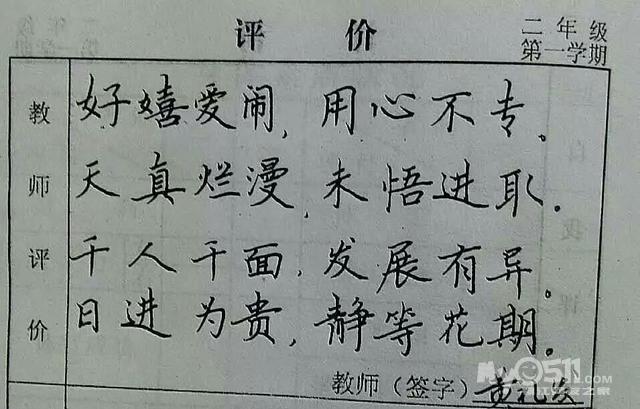 小学三年级期末评语_赣州一老师为学生写的评语把我惊呆了,深感于中华汉字之美 ...