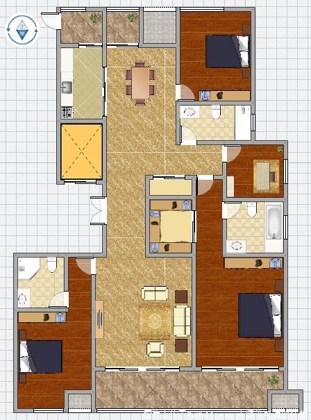 房屋户型:  四室二厅 房屋类型: 高层住宅 房屋性质: 商品房 建筑结构
